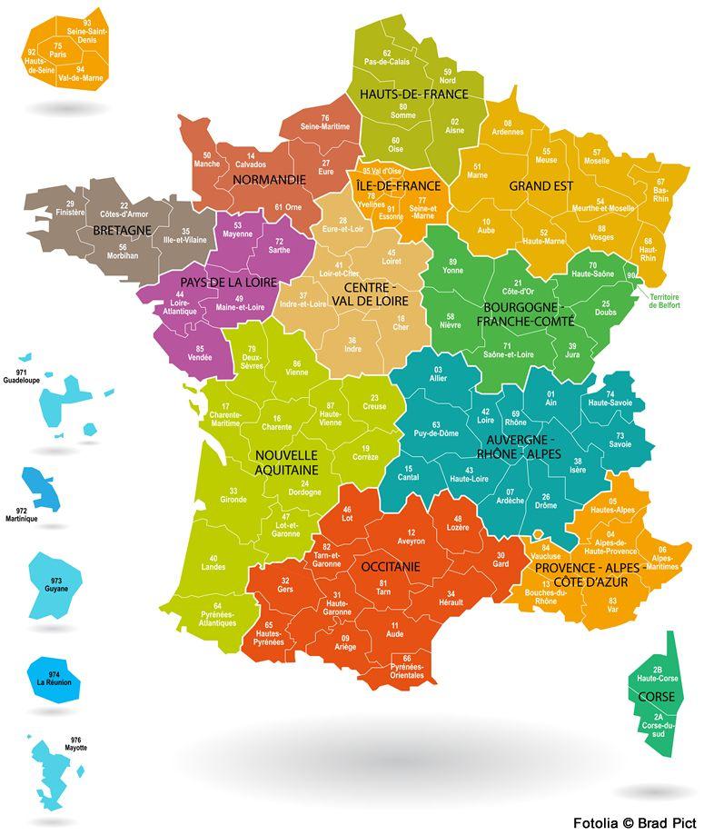 Confinement et voiture : Carte de France par régions et départements