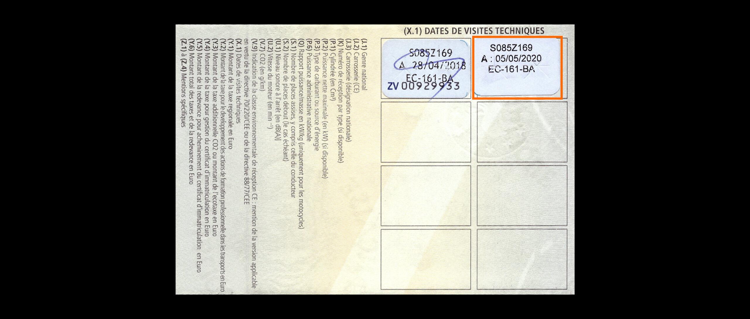 date de validité du contrôle technique et carte grise. La carte grise est un document officiel permettant d'obtenir des renseignements utiles tels que les caractéristiques d'un véhicule ou la validité du contrôle technique. Cette date de validité figure également sur une vignette apposée sur le pare-brise, ce qui permet d'avoir une information visuelle immédiate en cas de contrôle ou d'achat.